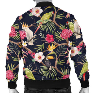 Parrot Toucan Tropical Pattern Print Men's Bomber Jacket GearFrost