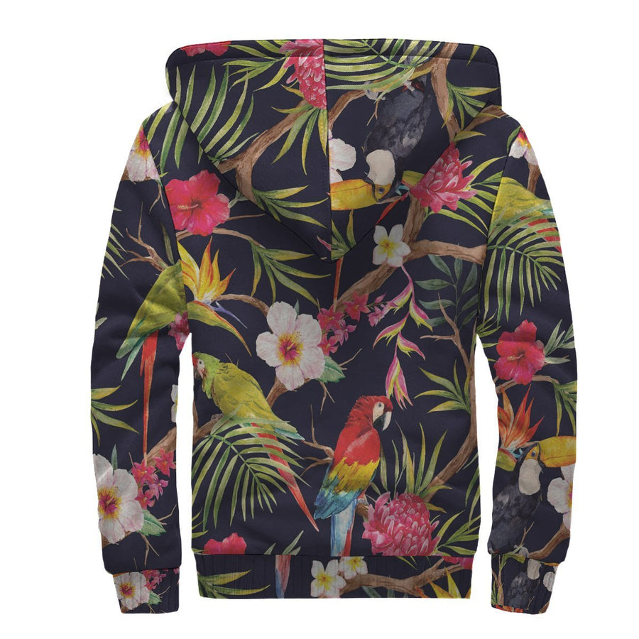 Parrot Toucan Tropical Pattern Print Sherpa Lined Fleece Hoodie GearFrost