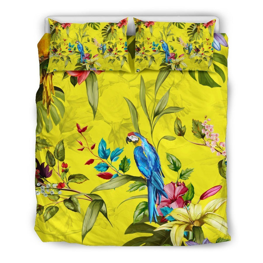 Parrot Tropical Pattern Print Duvet Cover Bedding Set GearFrost
