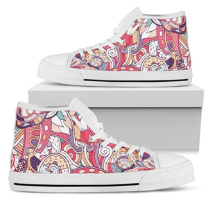 Pastel Bohemian Floral Pattern Print Men's High Top Shoes GearFrost