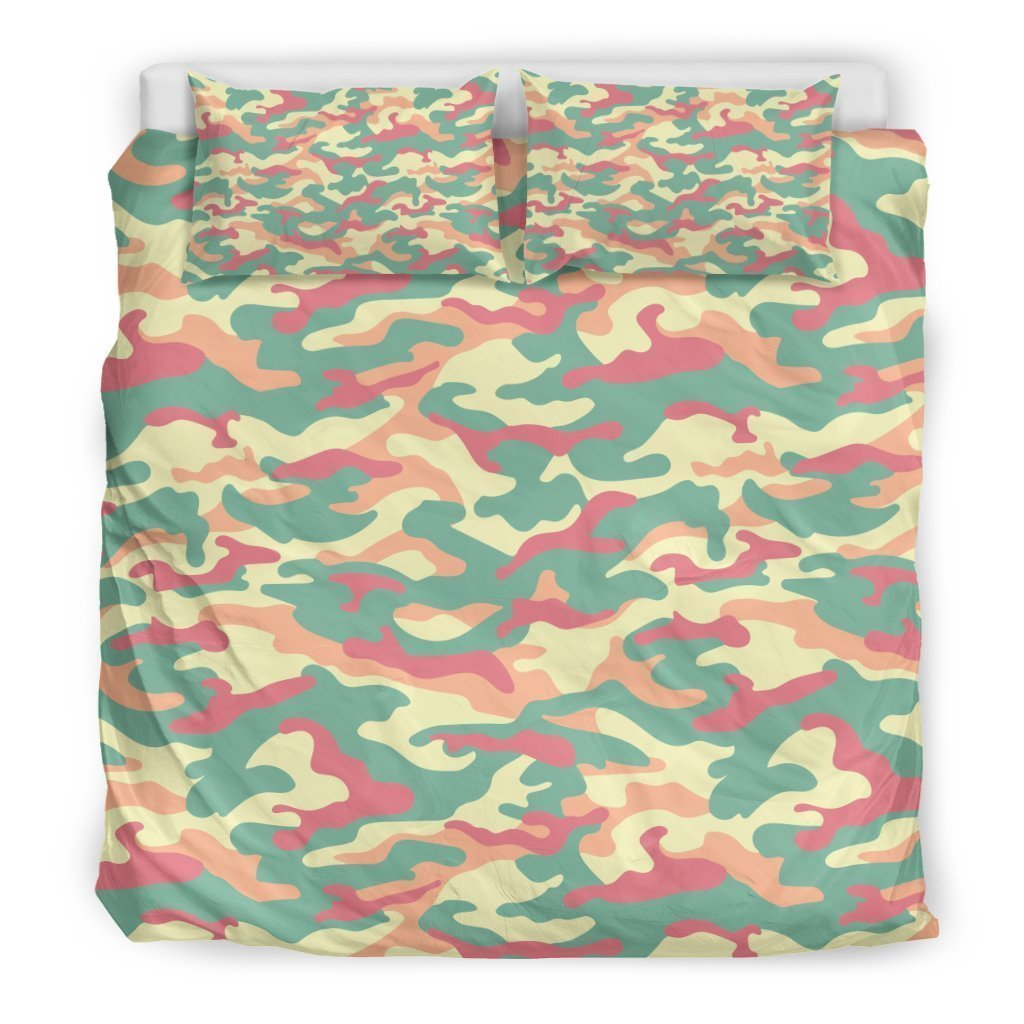 Pastel Camouflage Print Duvet Cover Bedding Set GearFrost