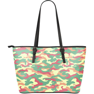 Pastel Camouflage Print Leather Tote Bag GearFrost