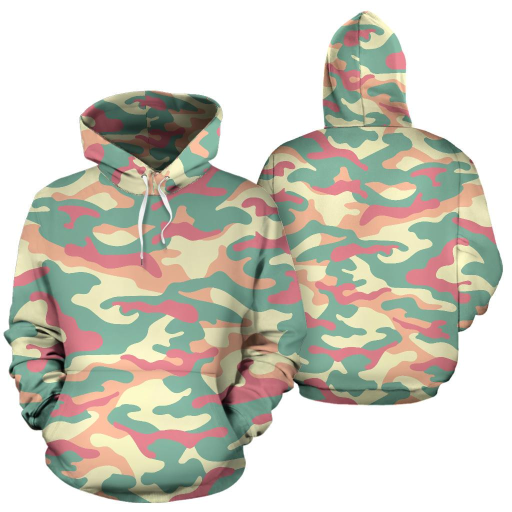 Pastel Camouflage Print Pullover Hoodie GearFrost