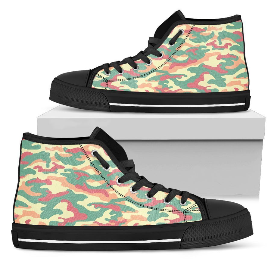 Pastel Camouflage Print Women's High Top Shoes GearFrost
