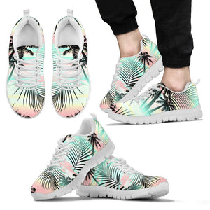 Pastel Palm Tree Pattern Print Men's Sneakers GearFrost