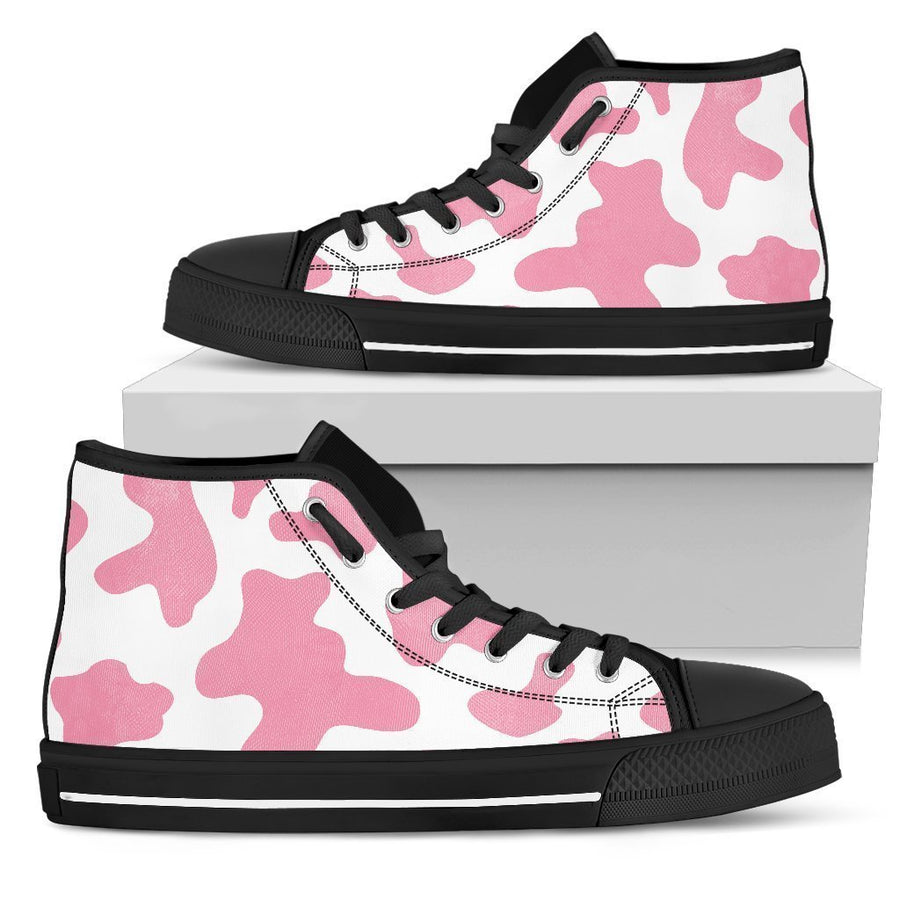 Pastel Pink And White Cow Print Men's High Top Shoes GearFrost
