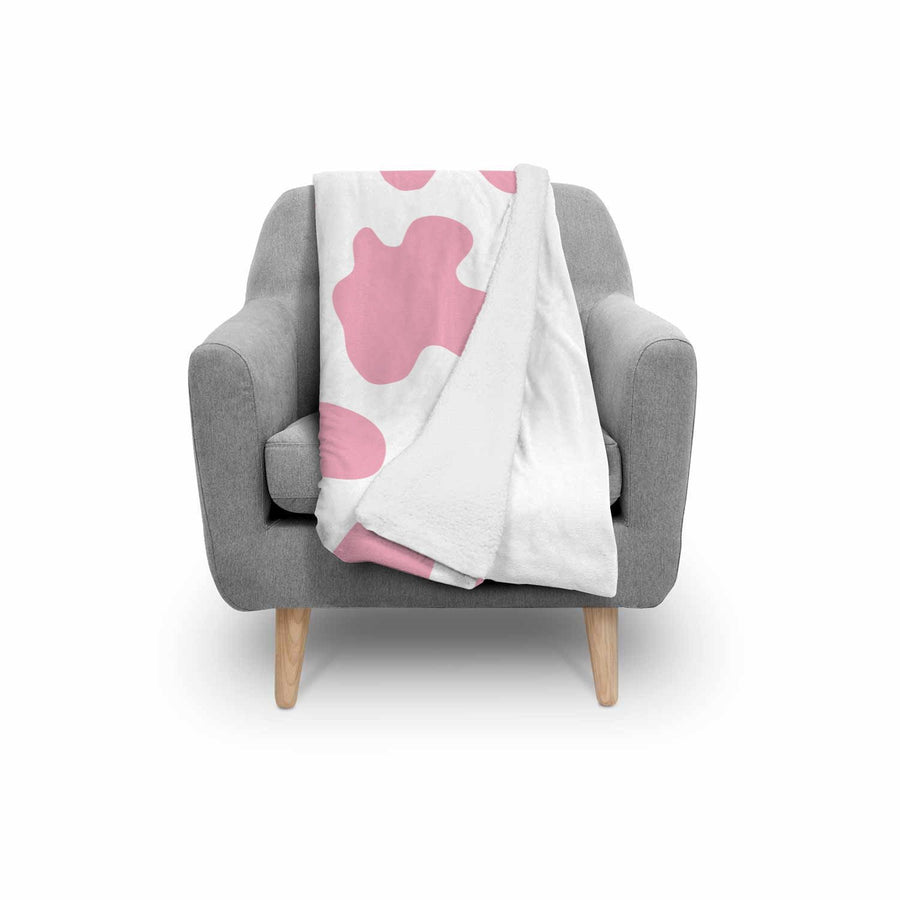 Pastel Pink And White Cow Print Sherpa Blanket GearFrost