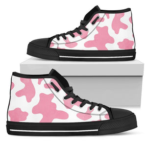 Pastel Pink And White Cow Print Women's High Top Shoes GearFrost