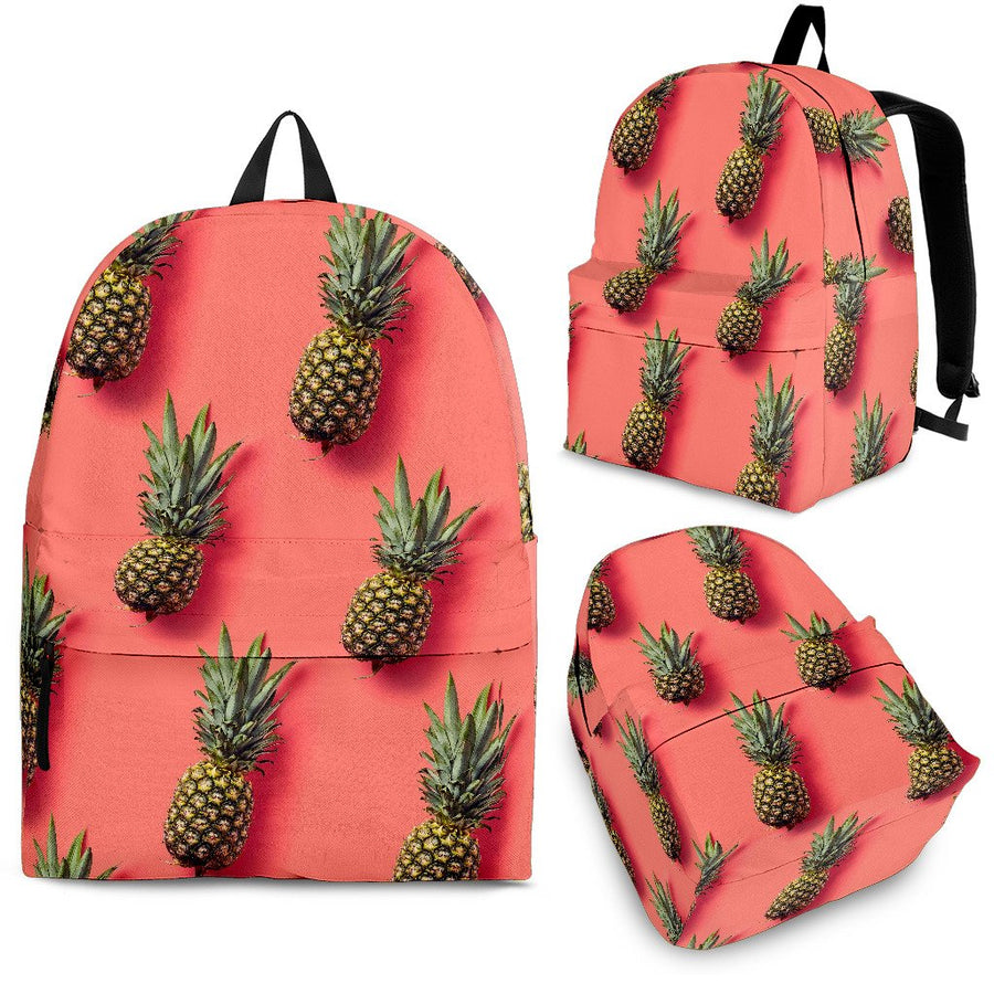 Pastel Pink Pineapple Pattern Print Backpack GearFrost