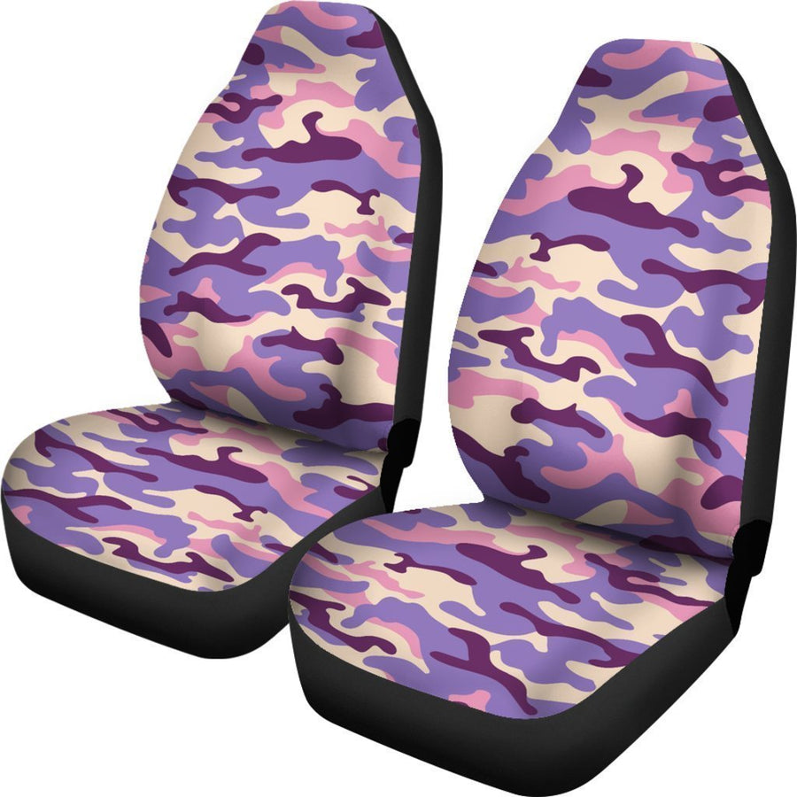 Pastel Purple Camouflage Print Universal Fit Car Seat Covers GearFrost