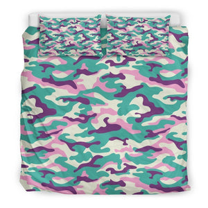 Pastel Teal And Purple Camouflage Print Duvet Cover Bedding Set GearFrost
