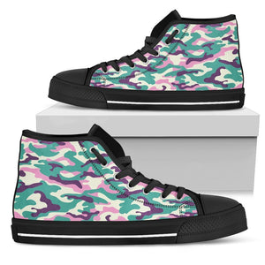 Pastel Teal And Purple Camouflage Print Men's High Top Shoes GearFrost