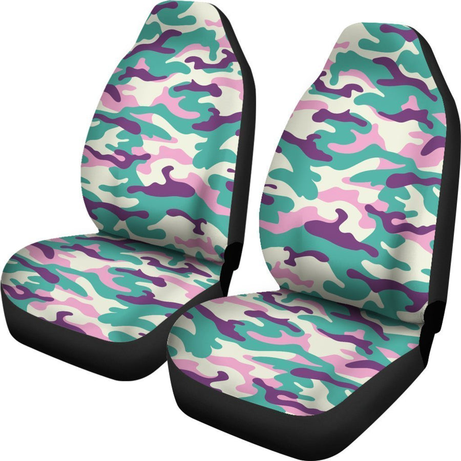 Pastel Teal And Purple Camouflage Print Universal Fit Car Seat Covers GearFrost