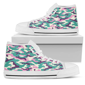 Pastel Teal And Purple Camouflage Print Women's High Top Shoes GearFrost