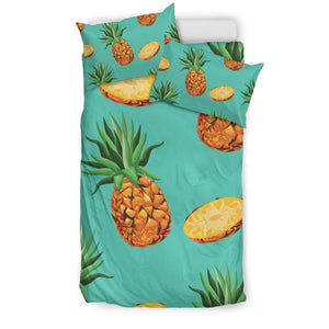 Pastel Turquoise Pineapple Pattern Print Duvet Cover Bedding Set GearFrost