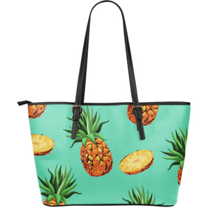 Pastel Turquoise Pineapple Pattern Print Leather Tote Bag GearFrost