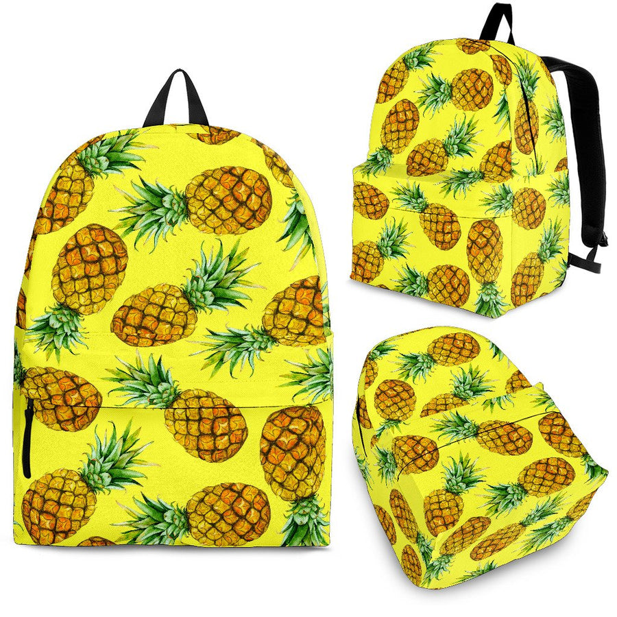Pastel Yellow Pineapple Pattern Print Backpack GearFrost