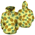 Pastel Yellow Pineapple Pattern Print Pullover Hoodie GearFrost