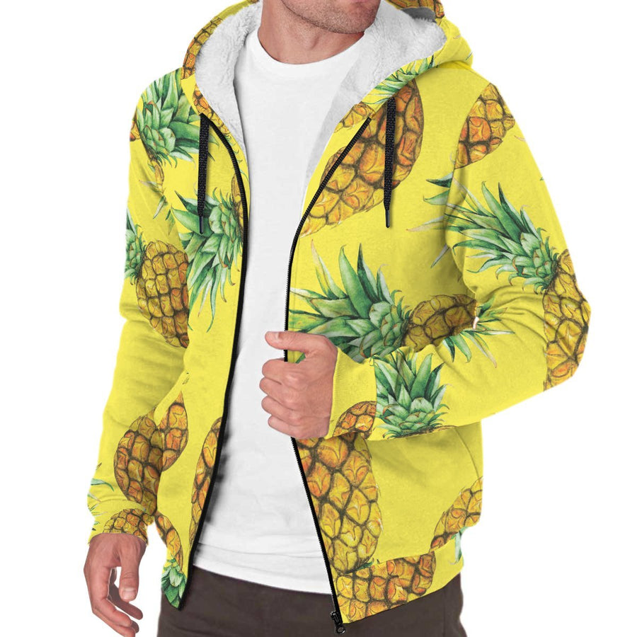 Pastel Yellow Pineapple Pattern Print Sherpa Lined Fleece Hoodie GearFrost