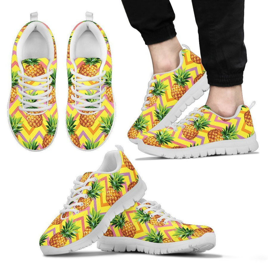 Pastel Zig Zag Pineapple Pattern Print Men's Sneakers GearFrost