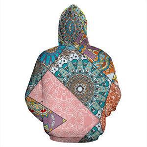 Patchwork Mandala Bohemian Pattern Print Pullover Hoodie GearFrost
