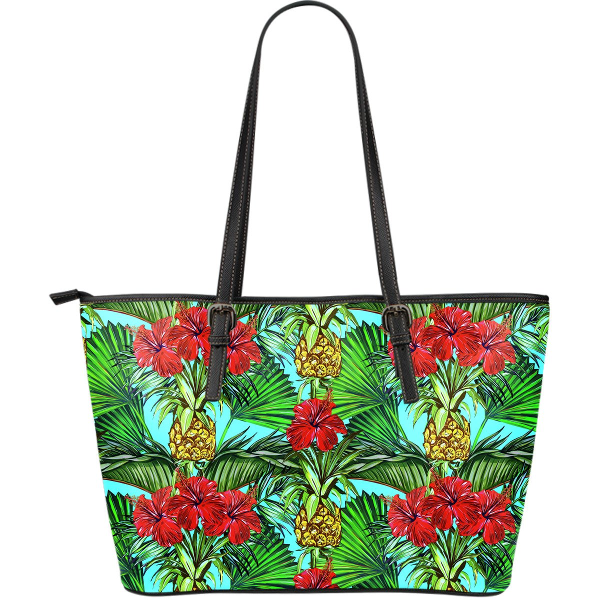 Pineapple Hibiscus Hawaii Pattern Print Leather Tote Bag GearFrost