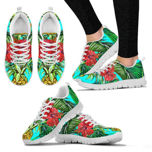 Pineapple Hibiscus Hawaii Pattern Print Women's Sneakers GearFrost