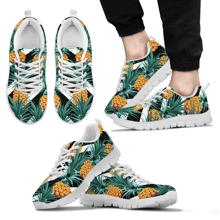 Pineapple Striped Pattern Print Men's Sneakers GearFrost