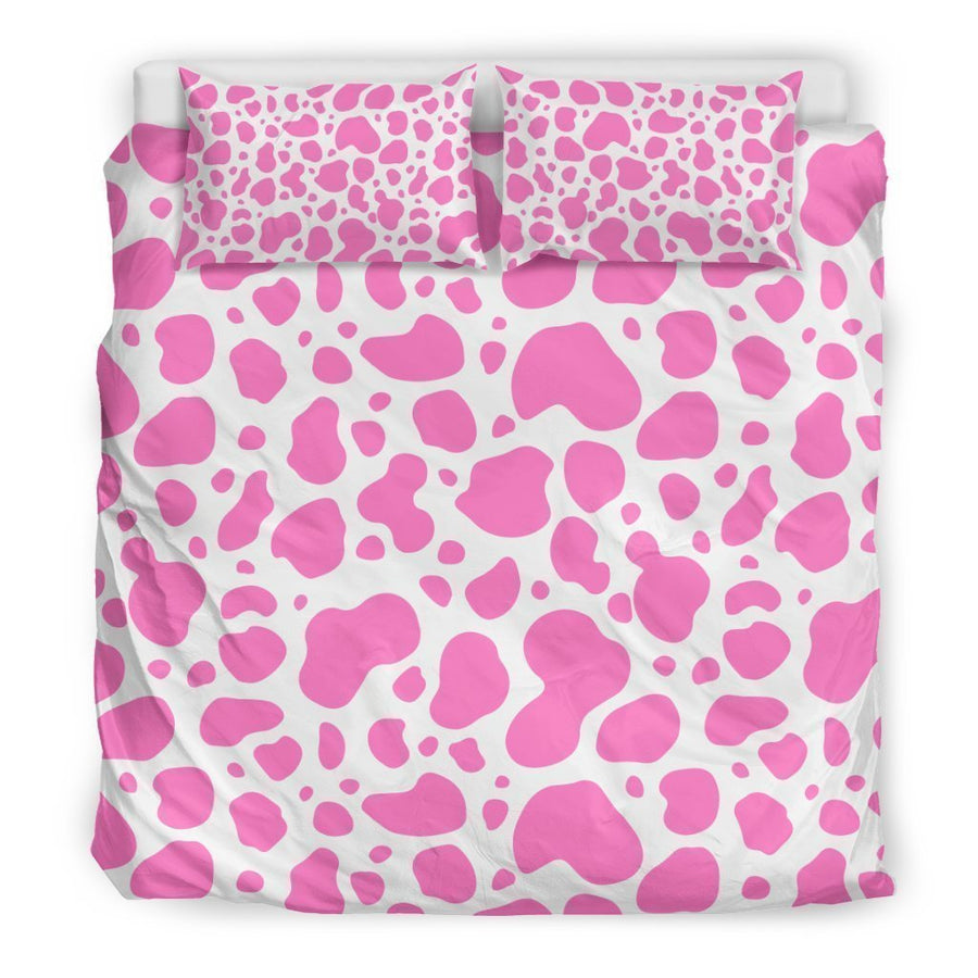 Pink And White Cow Print Duvet Cover Bedding Set GearFrost