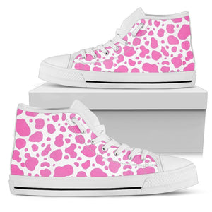 Pink And White Cow Print Men's High Top Shoes GearFrost