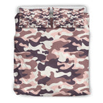 Pink Brown Camouflage Print Duvet Cover Bedding Set GearFrost