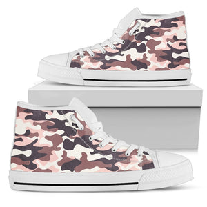 Pink Brown Camouflage Print Women's High Top Shoes GearFrost