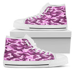 Pink Camouflage Print Men's High Top Shoes GearFrost