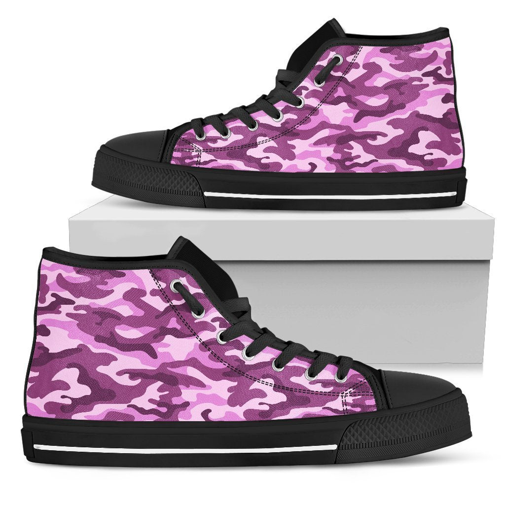 Pink Camouflage Print Women's High Top Shoes GearFrost