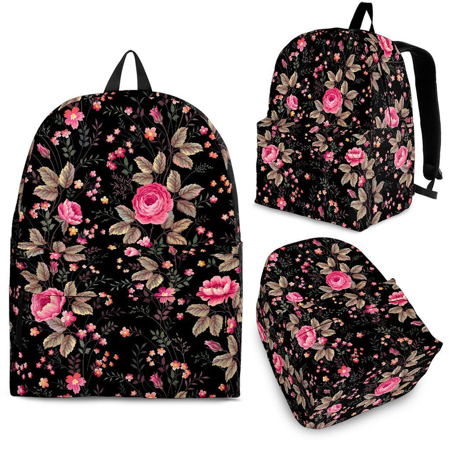 Pink Floral Flower Pattern Print Backpack GearFrost
