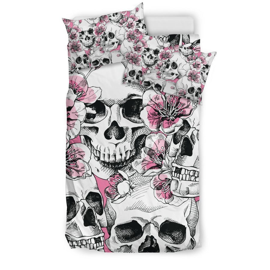 Pink Flowers Skull Pattern Print Duvet Cover Bedding Set GearFrost