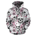 Pink Flowers Skull Pattern Print Pullover Hoodie GearFrost