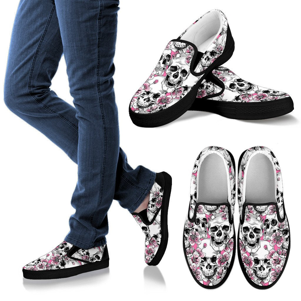 Pink Flowers Skull Pattern Print Women's Slip On Shoes GearFrost
