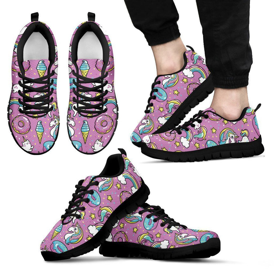Pink Girly Unicorn Donut Pattern Print Men's Sneakers GearFrost