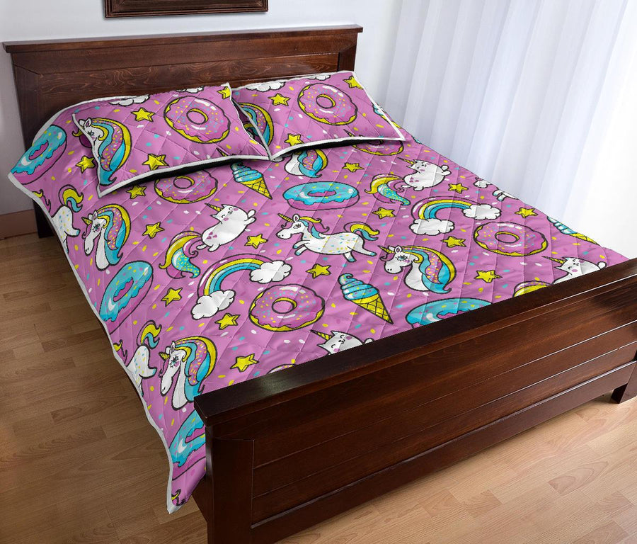 Pink Girly Unicorn Donut Pattern Print Quilt Bed Set