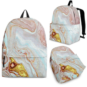 Pink Gold Liquid Marble Print Backpack GearFrost