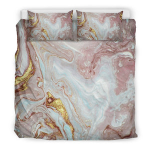 Pink Gold Liquid Marble Print Duvet Cover Bedding Set GearFrost
