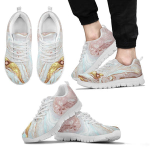 Pink Gold Liquid Marble Print Men's Sneakers GearFrost