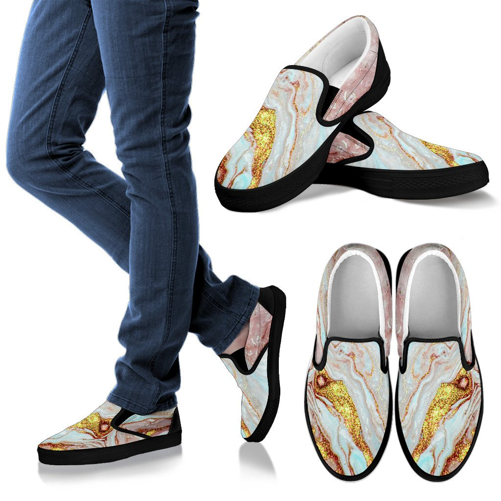 Pink Gold Liquid Marble Print Women's Slip On Shoes GearFrost