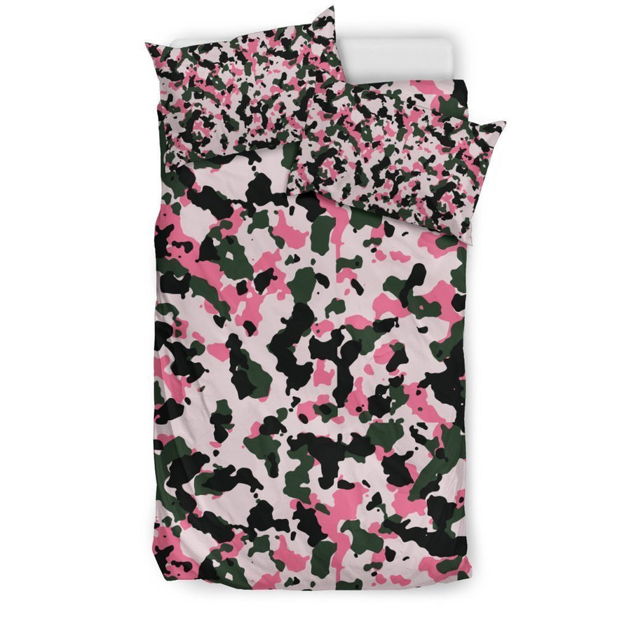 Pink Green And Black Camouflage Print Duvet Cover Bedding Set GearFrost
