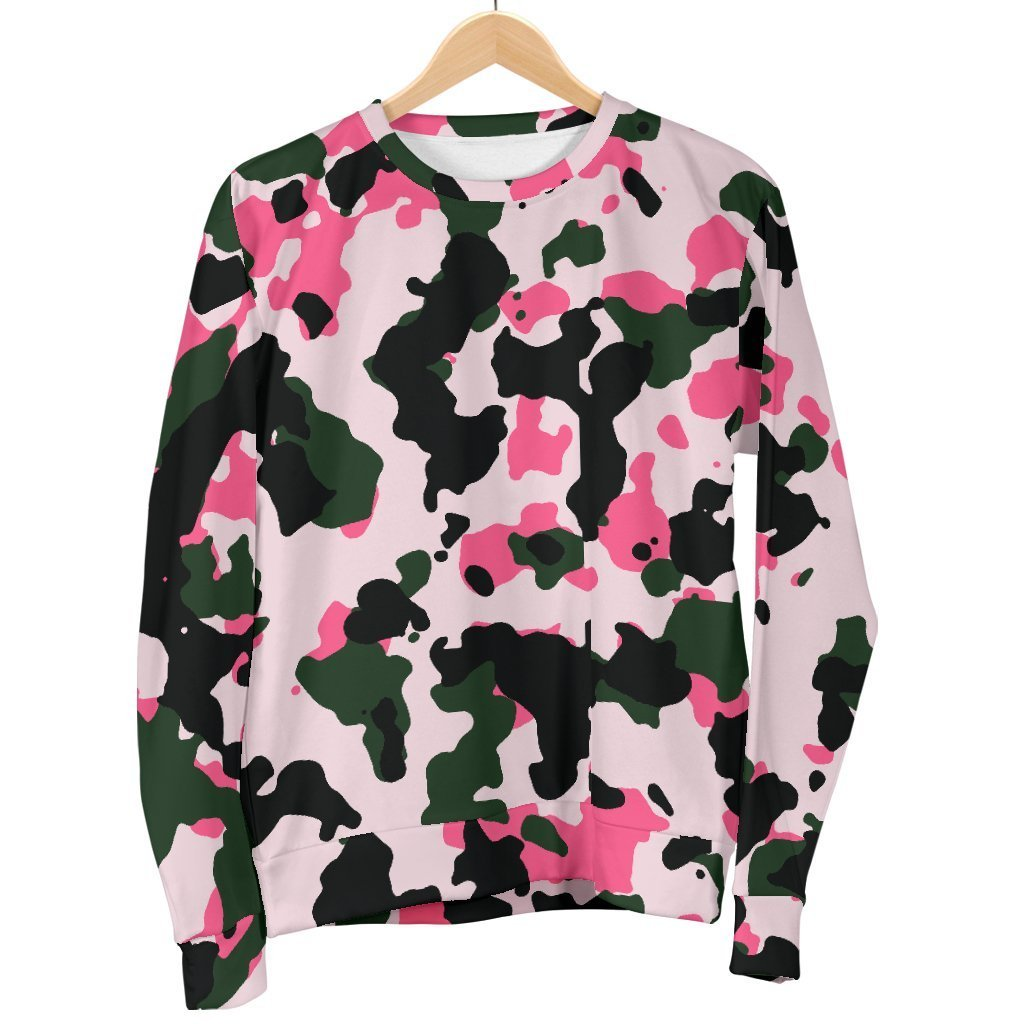 Pink Green And Black Camouflage Print Men's Crewneck Sweatshirt GearFrost