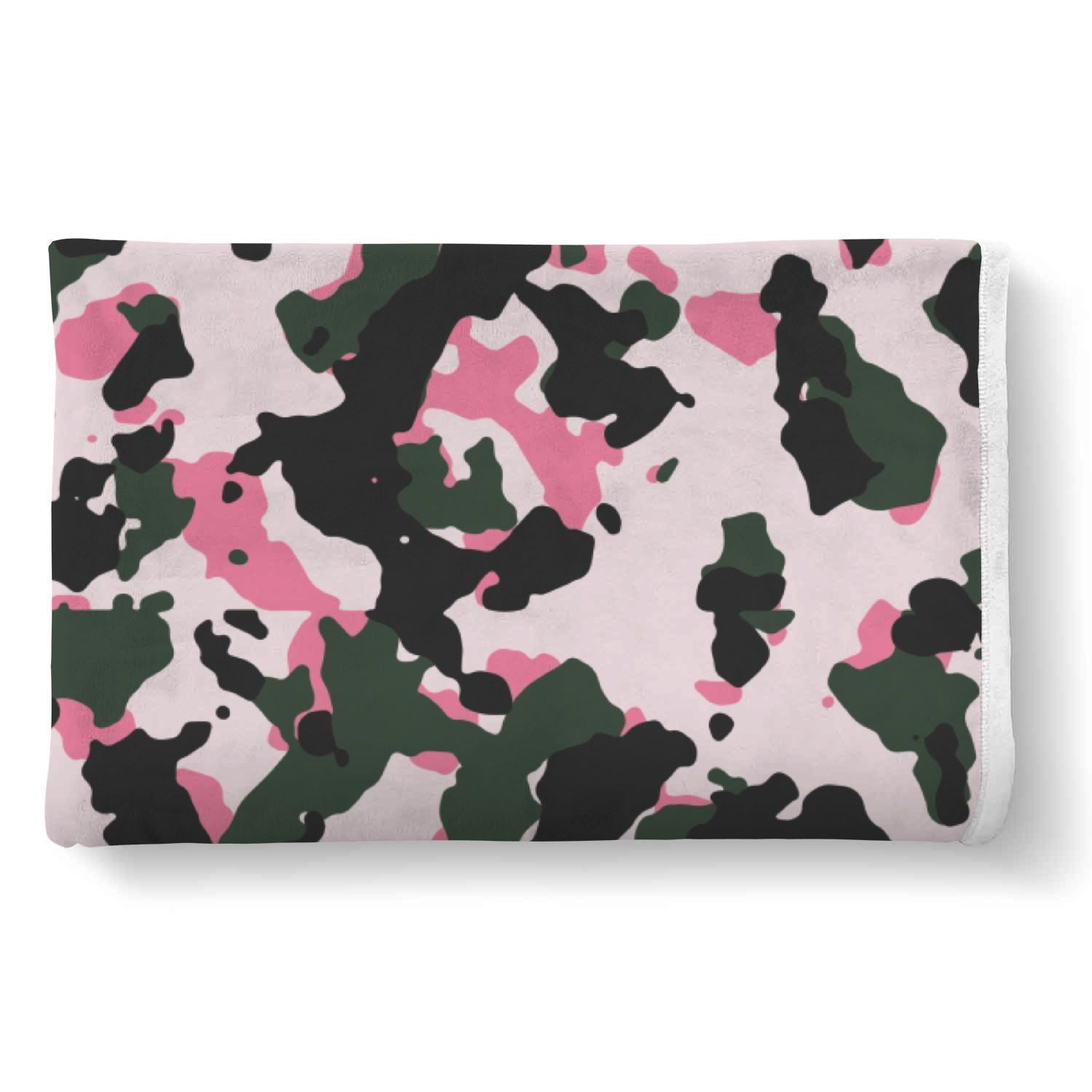 Pink Green And Black Camouflage Print Sherpa Blanket GearFrost