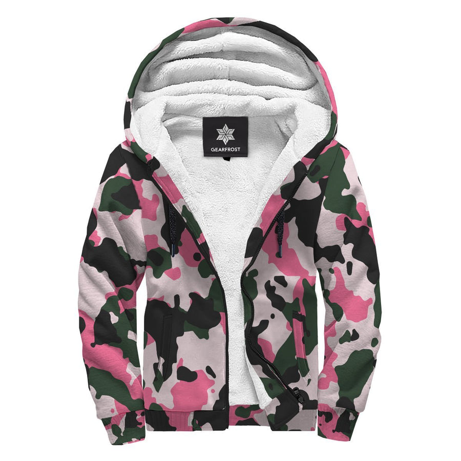 Pink Green And Black Camouflage Print Sherpa Lined Fleece Hoodie GearFrost