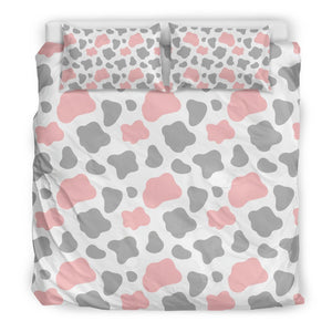 Pink Grey And White Cow Print Duvet Cover Bedding Set GearFrost
