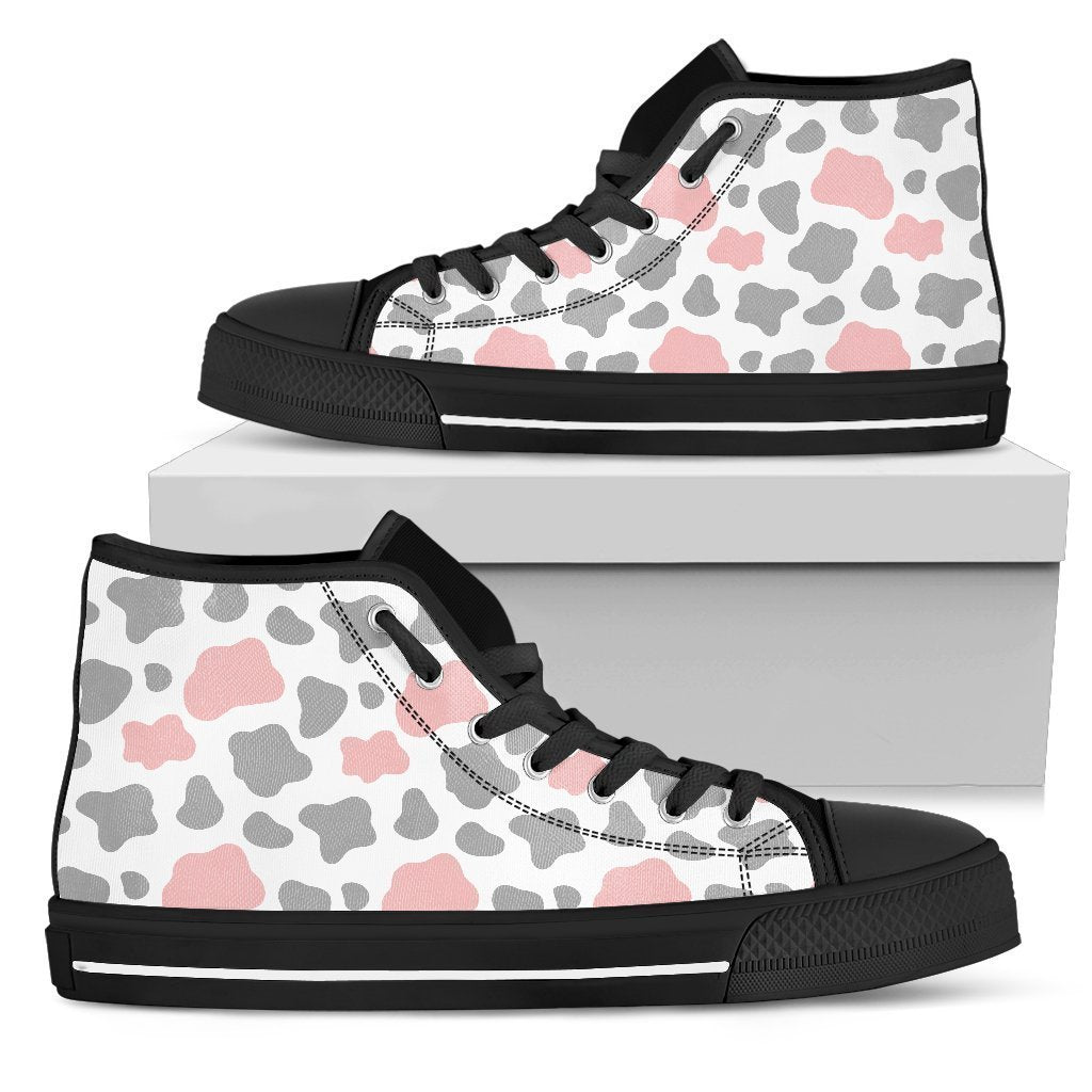 Pink Grey And White Cow Print Men's High Top Shoes GearFrost